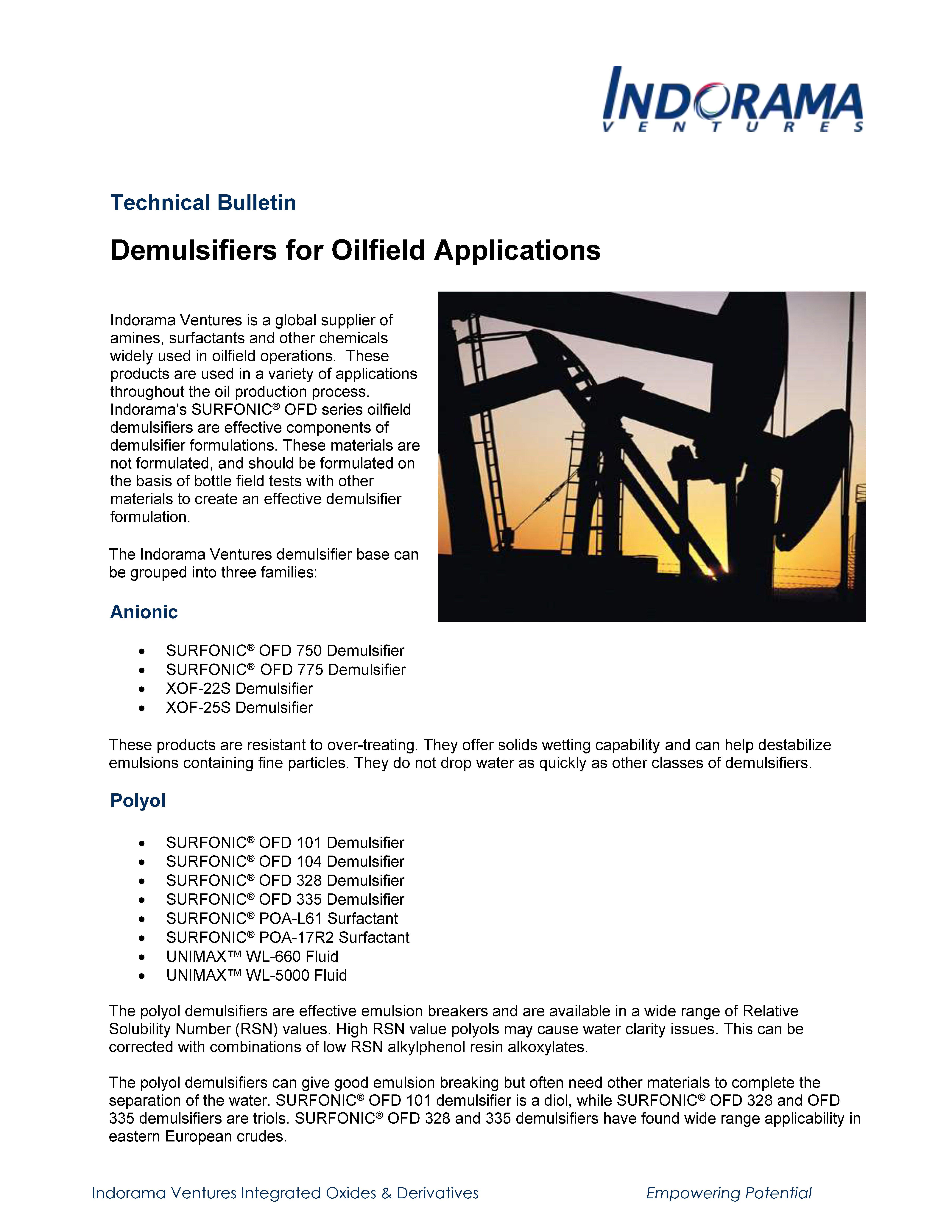 Demulsifiers for Oilfield Applications
